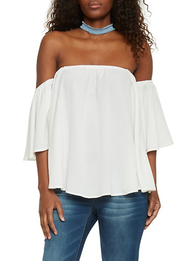 Off The Shoulder Flutter Sleeve Crepe Top,OFF WHITE,large