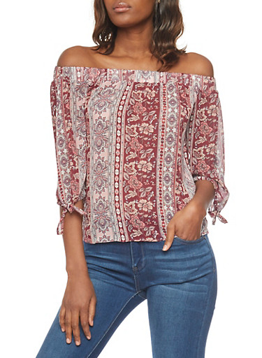 Floral Off the Shoulder Peasant Top with Sleeve Tie,BURG/MAUVE,large