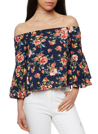 Floral Off the Shoulder Top with Bell Sleeves,NAVY,large