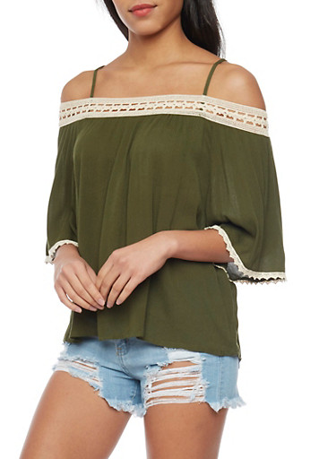 3/4 Sleeve Off The Shoulder Top with Crochet Trim,OLIVE/NATURAL,large