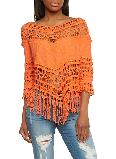 Macrame Peasant Top,ORANGE,large