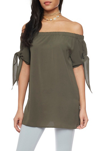 Off the Shoulder Top with Tie Sleeves,OLIVE,large