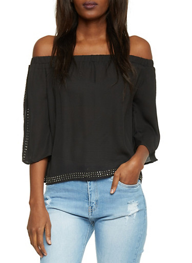 Studded 3/4 Off The Shoulder Top,BLACK,large