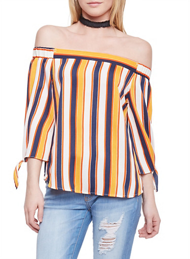 Striped Off the Shoulder High Low Blouse with Tie Sleeves,BURNT ORANGE/IVY,large