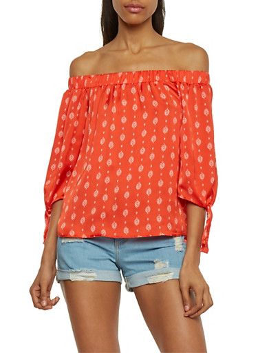 3/4 Tie Sleeve Off The Shoulder Printed Top,RED,large