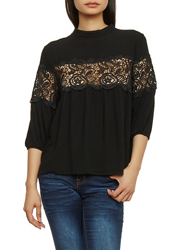 3/4 Sleeve Solid Top with Crochet Insert,BLACK,large