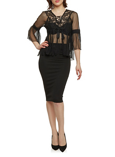 Mesh and Crochet Lace Up Top with Bell Sleeves,BLACK,large