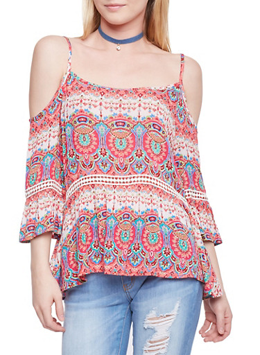 Printed Cold Shoulder Top with Crochet Inserts,CORAL,large