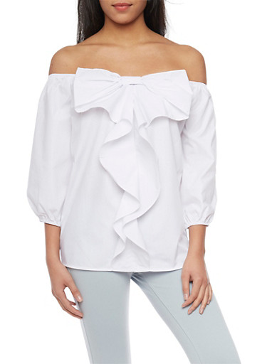 Off The Shoulder Blouse with Bow Detail,WHITE,large