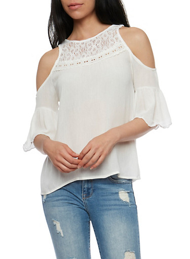 Gauze Knit Cold Shoulder Lace Yoke Top,NATURAL,large