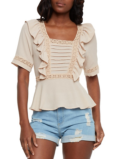 Ruffled Square Neck Top with Crochet Trim,MOCHA,large