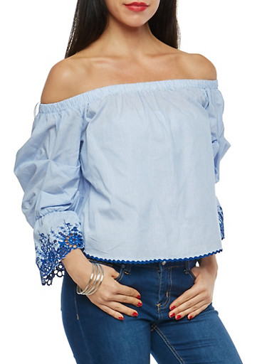Striped Off the Shoulder Top with Crochet Trim,BLUE/WHT,large