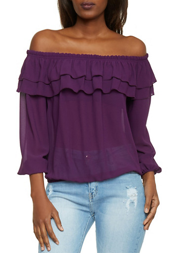 Long Sleeve Off the Shoulder Top with Ruffled Overlay,PLUM,large