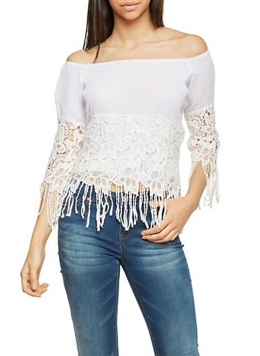 Off The Shoulder Top with Crochet and Fringe,WHITE,large