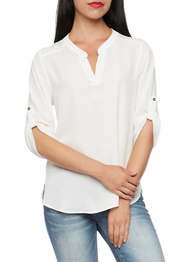 Chiffon Blouse with Button Cuff Sleeves,IVORY,large