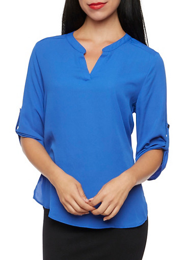 Chiffon Blouse with Button Cuff Sleeves,ROYAL,large