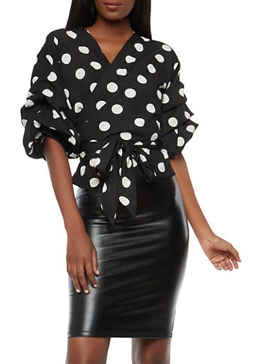Polka Dot Tiered Sleeve Wrap Top,BLACK/WHITE,large