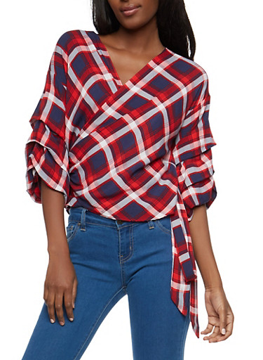 Plaid Tiered Sleeve Wrap Top,RED MULTI,large