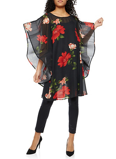 Floral Wired Sleeve Tunic Top,BLK/RED,large