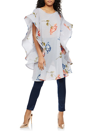 Floral Wired Sleeve Tunic Top,SLATE/BLUSH,large