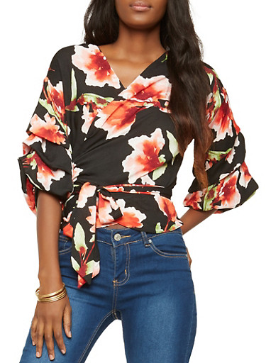 Floral Tiered Sleeve Wrap Top,WHITE,large