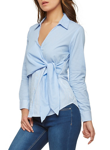 Striped Side Tie Button Front Shirt,BLUE,large
