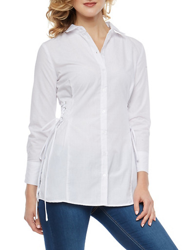 Lace Up Side Button Front Top,WHITE,large