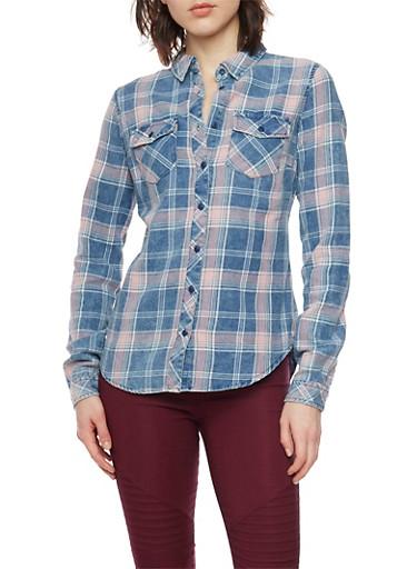 Plaid Shirt,NAVY,large