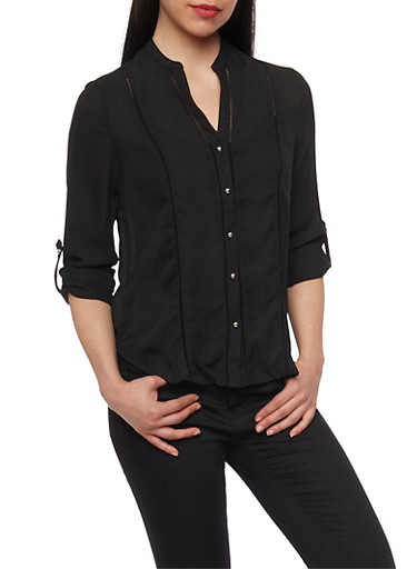 Tab Sleeve Button Front Top with Crochet Details,BLACK,large