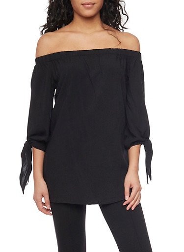 Smocked Off The Shoulder Top with Tie Sleeves,BLACK,large