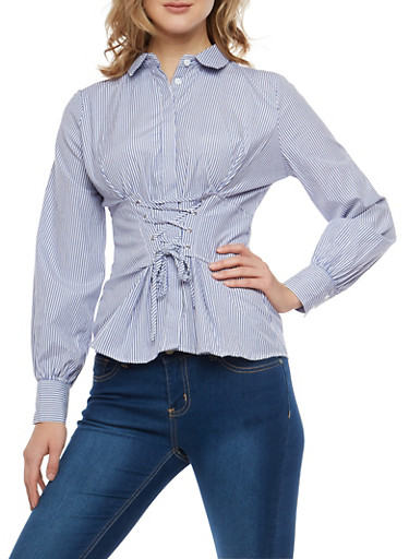 Striped Button Front Shirt with Corset Waist Detail,SKINNY STRIPE,large
