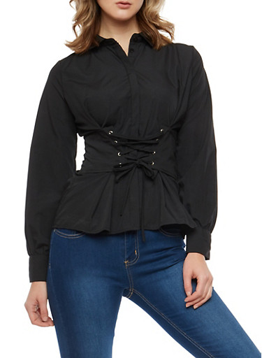 Lace Up Waist Button Front Shirt,BLACK,large