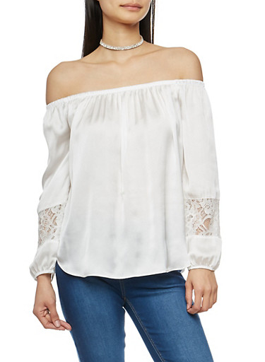 Satin Off the Shoulder Top with Lace Sleeve Inserts,OFF WHITE,large