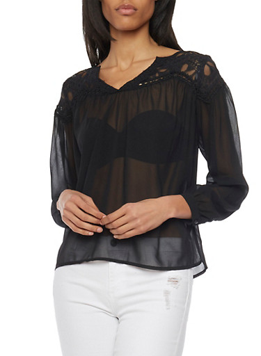 Sheer Crochet Yoke Blouse with Button Cuff Sleeves,BLACK,large