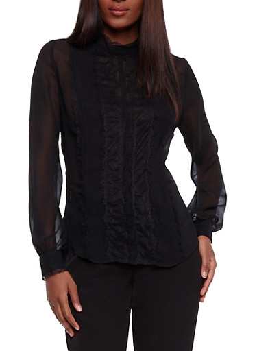 Long Sleeve Lace Pintuck Blouse,BLACK,large
