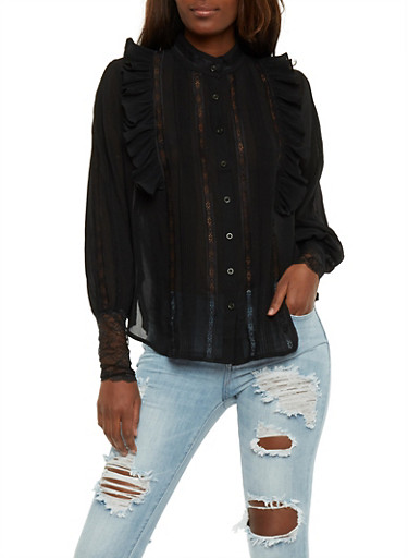 Ruffled Long Sleeve Lace Trim Shirt,BLACK,large