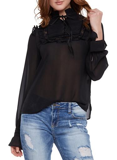 Long Sleeve Pleated Bib Top with Ruffle Trim,BLACK,large