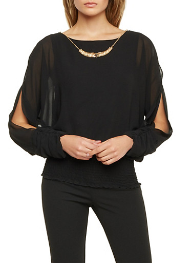 Draped Top with Split Long Sleeves and Necklace,BLACK,large
