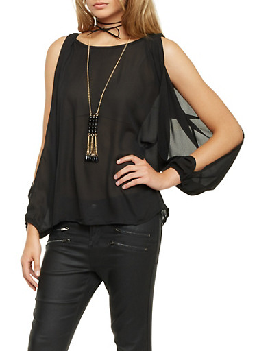 Chiffon Top with Split Long Sleeves and Necklace,BLACK,large