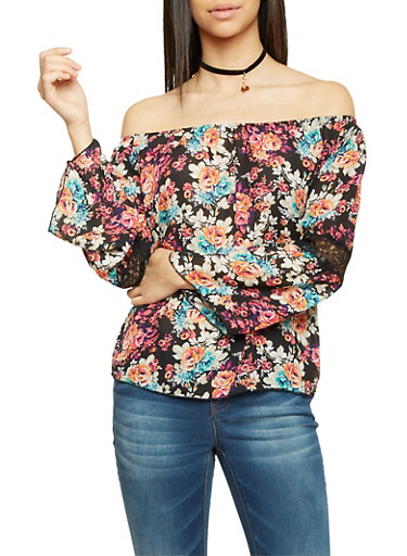 Off the Shoulder Top with Floral Print and Lace Panels,FUASHIA/JADE,large