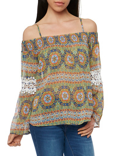 Off the Shoulder Printed Bell Sleeve Peasant Top,RYL GOLD,large
