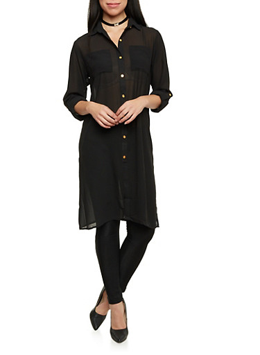 Tunic Top with Tie Belt,BLACK,large
