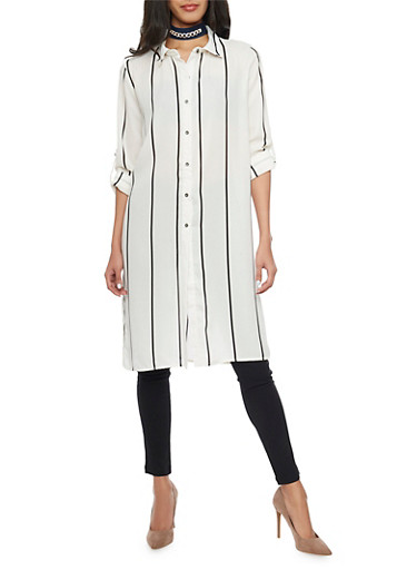Striped Button Front Maxi Top with Side Slits,BLACK/WHITE,large