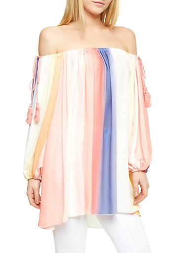 Multi Color Off the Shoulder Tunic Top with Sleeve Tassel Detail,MULTI COLOR,large
