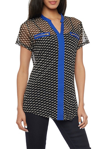 Polka Dotted Mesh Top with Contrast Trim and Faux Zipper Pockets,BLK/WHT/RYL,large