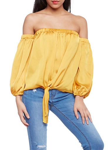 Long Sleeve Off the Shoulder Top with Tie Front,MUSTARD,large