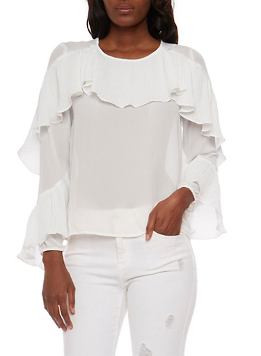 Long Sleeve Blouse with Ruffle Detail,WHITE,large