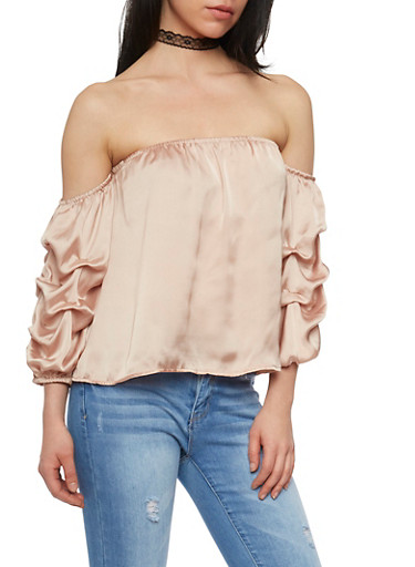 Satin Off the Shoulder Top with Ruched Sleeves,CHAMPAGNE,large