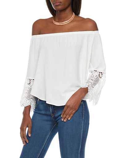 Off the Shoulder Top with Lace Sleeves,WHITE,large
