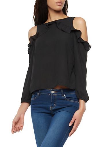 Ruffled Long Sleeve Cold Shoulder Top,BLACK,large
